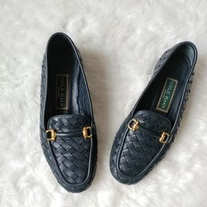COLE HAAN Navy Blue Woven Leather Loafers